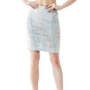 GUESS zip up high waisted destroyed denim skirt